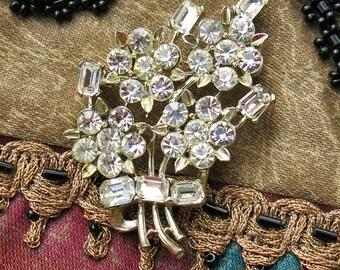 Vintage LISNER Rhinestone Brooch, Signed ...  Clear Rhinestone Flower Bouquet Pin, Floral Spray ... Emerald Cut and Round Rhinestones