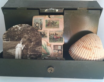 Old metal cash box with handle- great for organizing or display