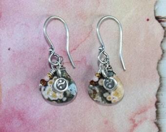 Ocean Jasper Drops with Thai Hill Tribe Yin Yang Charm Coral Tourmaline Sterling Silver Dangle Earrings