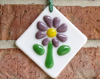 Purple and yellow fused glass flower ornament