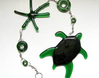 Green Sea Turtle with green glass bead dangling glass art suncatcher wall hanging