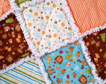 Rag Quilt, Boy, Baby, Toddler, Woodland, Fox, Bears, Squirrels, Owls, Moose, Orange, Green, Blue, Stripes,  Acorns, Flannel, Ready to Ship