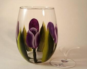 Hand Painted Purple Tulip Stemless Wine Glass