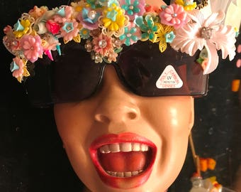 Big Flower Hawaiian Glass Rhinestone  Sunglasses by Jan Carlin One of a Kind Hollywood Glam