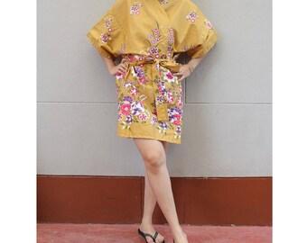 Dark Orange Flower Kimono Thai Batik Floral Short Bridesmaid Bath Robe S - L (R05)