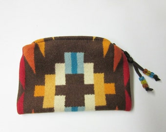 Zippered Pouch Case Accessory Organizer Cosmetic Pouch Make Up Bag Southwest Blanket Wool from Pendleton Oregon