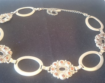 Vintage Silver Metal and Amber Bead Chain Link Belt