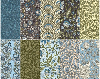 "SALE 30% Off Andie Hanna Botanical Bliss Dusty Blue Ten Squares 10"" Precut Fabric Quilting Cotton Layer Cake Robert Kaufman TEN-506-42"