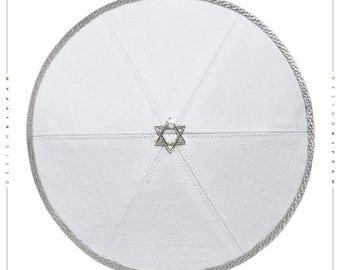 Linen kippah yarmulke yamaka kippa. White. Jewish wedding - Bar Mitzvah - Shabbat.