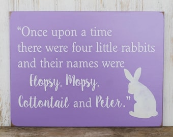 Once Upon a Time Four Little Rabbits Wood Sign for Nursery, Child's room or Easter Decor