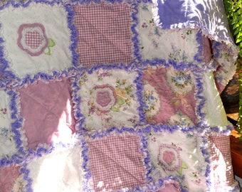 """Handmade Rag Quilt """"FLOWER GIRL"""" Baby Girl"""