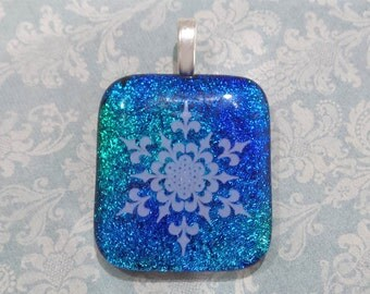 Snowflake Necklace, Blue Dichroic Pendant, Fused Glass Pendant, Winter Jewelry, Ready to Ship, Fused Glass Jewelry - Winter Sparkle -6