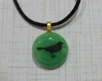 Dove Necklace, Bird Pendant, Tiny Fused Glass Pendant, Ready to Ship, Green Fused Glass Jewelry, Gifts Under 20 - Sweet Little Birdy -6