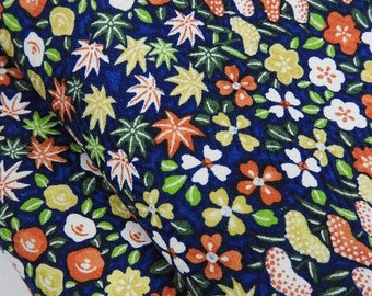 Cheerful Cherry Blossoms, Maple Leaves and Foliage Silk Kimono: Vintage Japanese