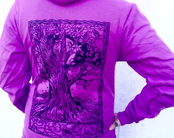 Purple Tree Hoodie Orchid Moon Owl Nature Gift For Her ZipUp Fleece Made In USA Sm M L XL XXL