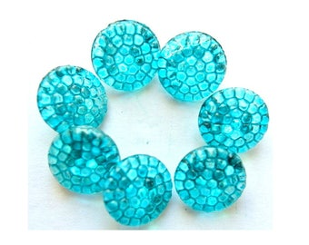 Vintage glass buttons, 6 buttons, hand painted in blue to turquoise, 14mm, Czech