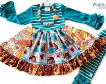 Disney Moana Hawaiian Princess dress girls toddler boutique style birthday Disney World Momi boutique custom dress