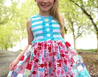 Easter bunny Spring bunny dress Momi boutique custom dress