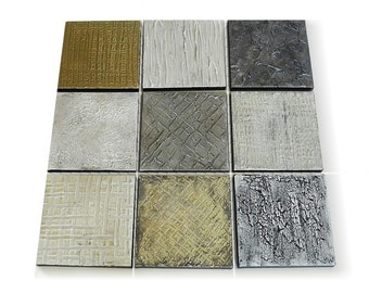 Minimalist Abstract painting set of 9 square canvas grouping - modern wall hanging - original abstract art - shabby texture painting art