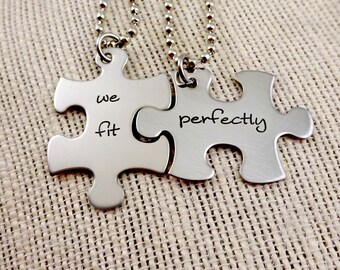 Puzzle Piece Couples Keychain or Necklace Set - His and Hers - We Fit Perfectly - Fiance Boyfriend Husband  Fathers Day Valentine's Day
