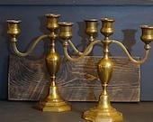 Pair Candelabra 3 Arm Brass Candelabra