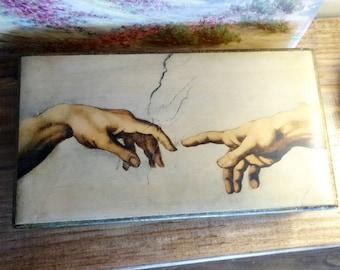 """Florentine Box Glove Box Michelangelo Creation of Adam 12"""""""