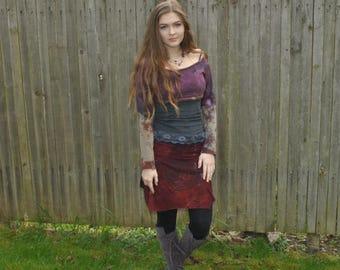 Festival Skirt - Gypsy Skirt - Boho Skirt - Hippie Skirt - Short Skirt - Womens Skirt - Organic Bamboo - Flower of Life Sacred Geometry