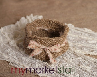 Knitted Jute Bowl w/Hand-Frayed Tea-Stained Flowered Ribbon/Cottage Chic/Natural Jute/Valentines Day Gift Idea/Ready to Ship