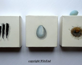 Nest Feather  painting  Egg  Set of 3 original ooak still life Robin Bird Art Its The Little Things In Life