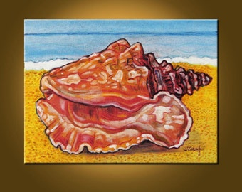 Found A Shell -- 12 x 16 inch Original Oil Painting by Elizabeth Graf on Etsy -- Art Painting, Art & Collectibles
