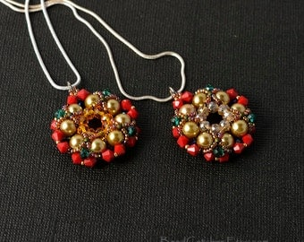 1x pearls & crystals beadwoven pendant in red/gold/teal/blue