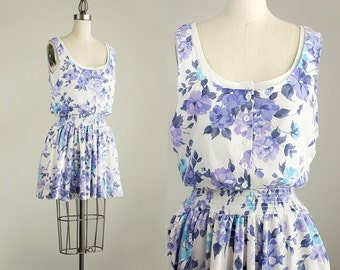 Cherie Vintage // 90s Vintage Cotton Lavender, Blue And White Floral Print Mini Dress / Size Small