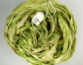 Silk Sari Ribbon, Sari silk ribbon, recycled ribbon, green sari ribbon, silk ribbon, rug supply, knitting supply, apple green sari ribbon