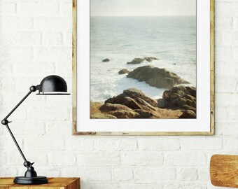 "Beach ocean photography print, minimal seascape pale blue brown rustic wall art ""West Ocean"""