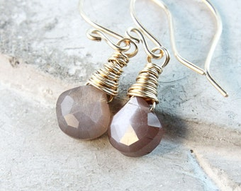 Brown Moonstone Earrings Gold Filled  Delicate Jewelry June  Birthstone Earrings Gemstone Jewelry Birthday Gift For Women