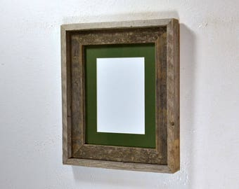 Small picture frame 5 x 7 green mat in 8x10 frame from rustic reclaimed wood 20 mat colors to choose from.