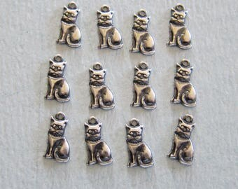 SALE 12 Silver Cat Charms 3858