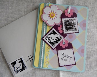 Handmade Birthday Card: complete card, handmade, balsampondsdesign, birds, yellow, blue, layers, ooak