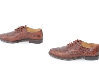 size 6.5 OXFORD brown leather 80s BROGUE minimal lace up flats