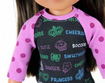 Fits like Wellie Wisher Doll Clothes - Princess / American Girl / Dancer / Soccer Champ / Sweetheart / Cheerleader / Cutie Baseball Tee