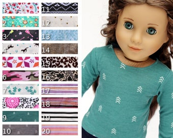 Fits like American Girl Doll Clothes - Long-Sleeve Tee, You Choose Print
