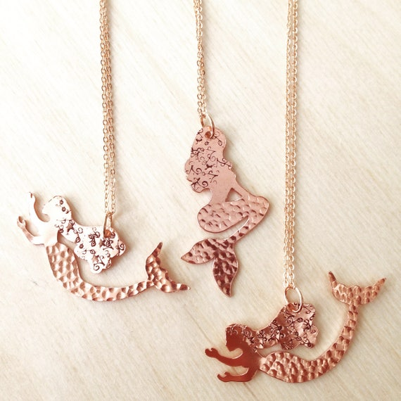 Copper Mermaid on Rose Gold Plated Chain - Mythical - Sea - Golden - Festival -