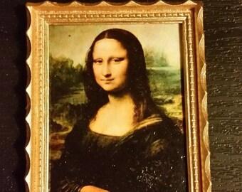 Da Vinci framed painting Mona Lisa - for 1:12 dollhouse