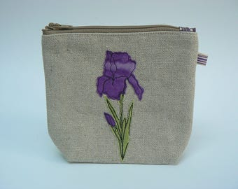 Purple Flag Iris zipped pouch, cosmetics purse, knitting notions bag
