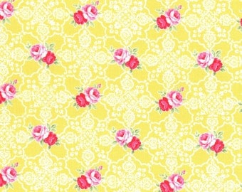 Yellow Rose Lace Tile 31377 50 Fabric by Lecien Flower Sugar Sweet Carnival