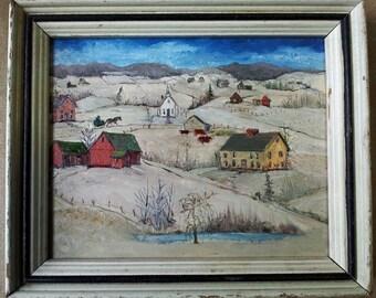 Little winter scene oil painting folk art framed 4 x5 inches