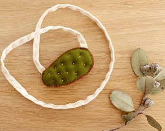 Embroidered Necklace . Jaune Prickly Pear Necklace . Cactus Necklace . One of a Kind . Rope Necklace . Soft Tufted Necklace . Merino Wool