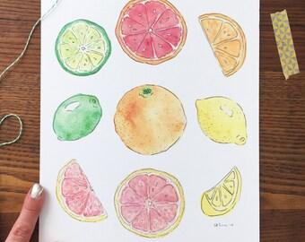 Citrus Art. Citrus Art Print. Watercolor Fruit Pattern. Kitchen Decor. Home Decor. 8x10 Print. Fruit Decor. Fruit Painting. Gift Under 20