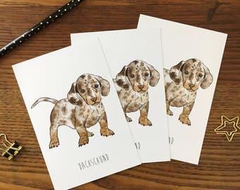 Dachshund Card. Dachshund Postcard. Dachshund Puppy. Dog Art. Dog Stationery. Thank You Card. Dachshund Stationary. Dog Lover. Blank Card
