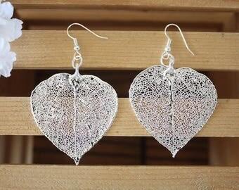 Aspen Silver Leaf Earrings, Large Aspen Leaf , Real Leaf Earrings, Real Silver Aspen Leaf, Sterling Silver, Nature, LEP65